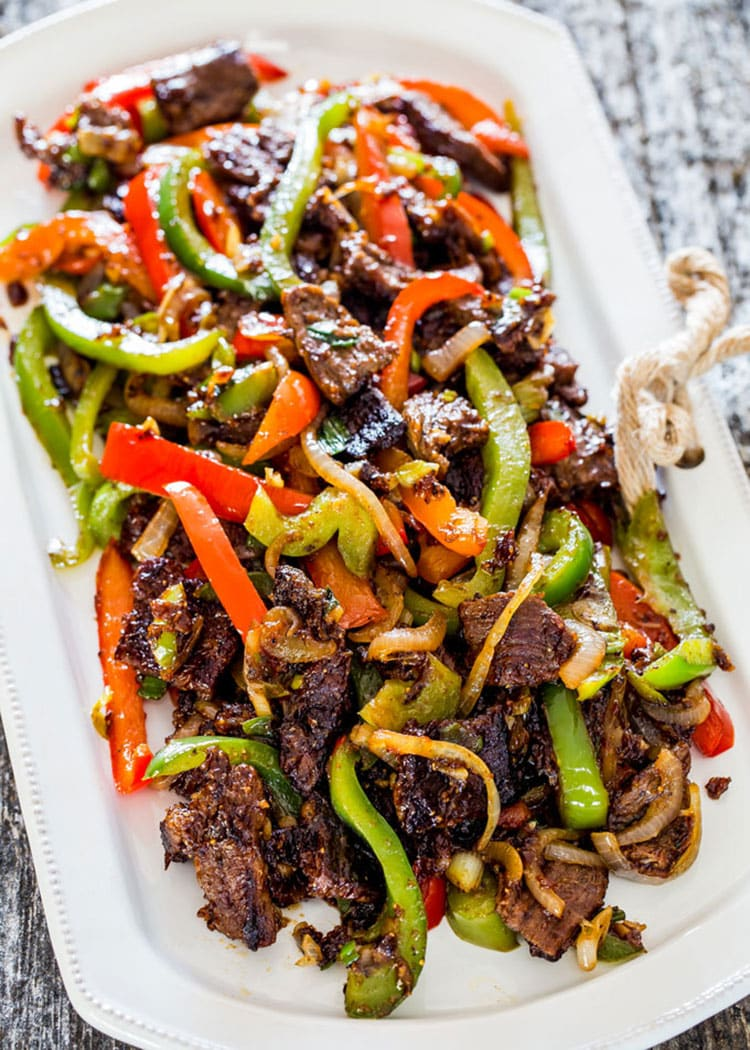 Asian Style Pepper Steak on a white platter
