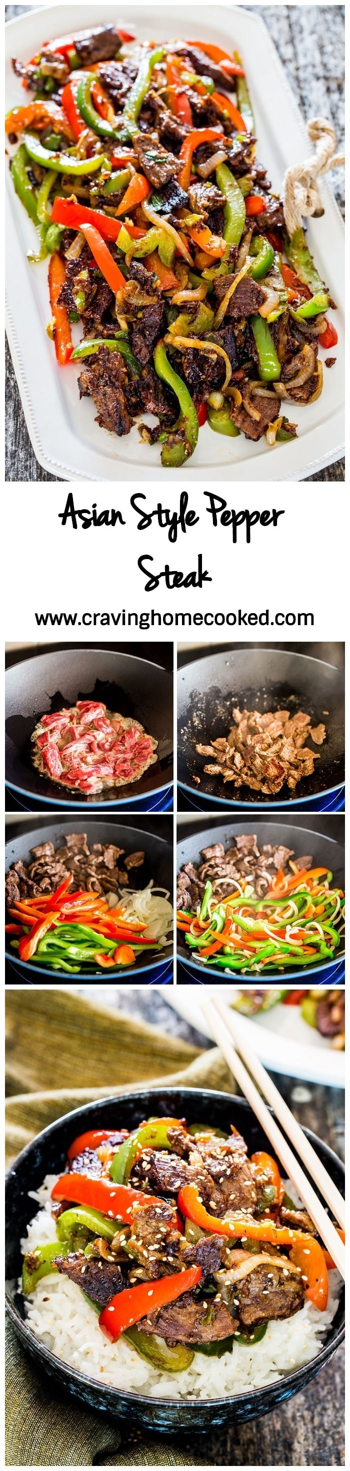 Tender Strips of beef stir fried with peppers and onions with a delicious Asian style sauce. A super simple pepper steak dinner that can be on your dinner table in 25 minutes tops, using simple and fresh ingredients. #peppersteak
