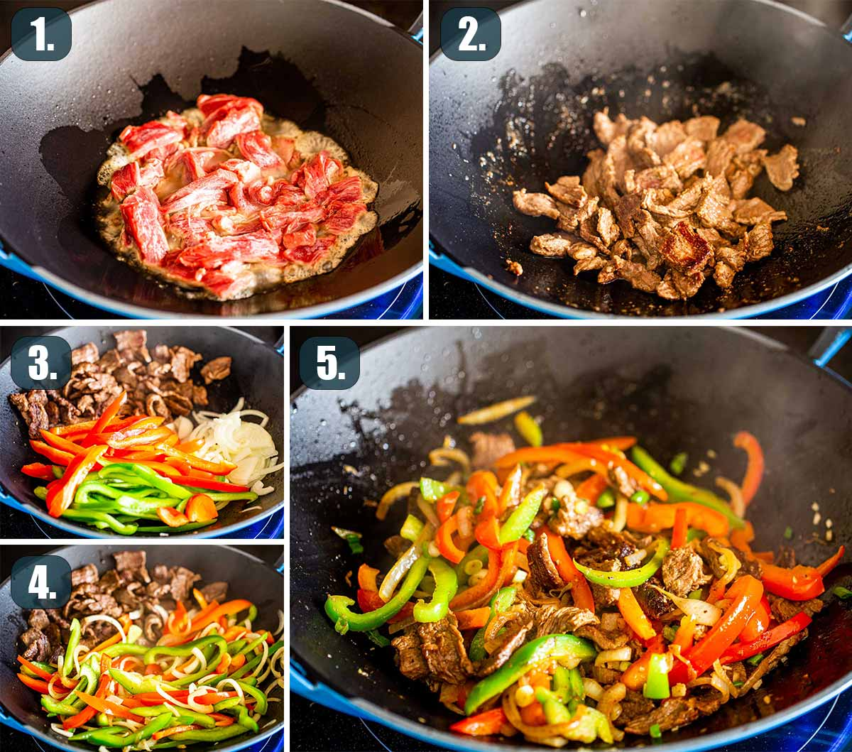 process shots showing how to make asian style pepper steak.