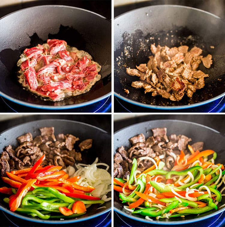 Asian Style Pepper Steak process shots