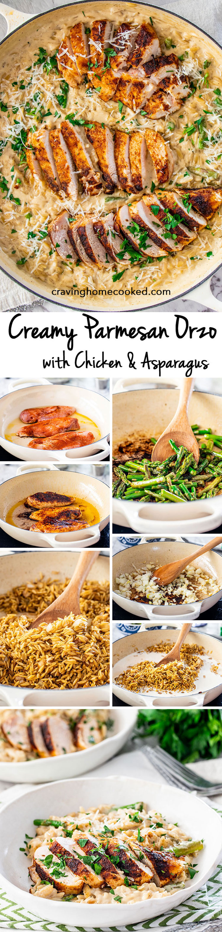 Quick and delicious Creamy Parmesan Orzo with Chicken and Asparagus that can be on your dinner table in only 30 minutes! Cheesy, creamy, delicious goodness! #parmesanorzo #chicken #30minutemeals
