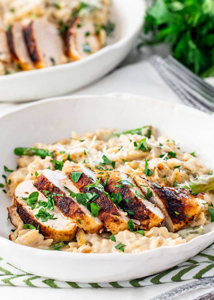 Creamy Parmesan Orzo with Chicken and Asparagus