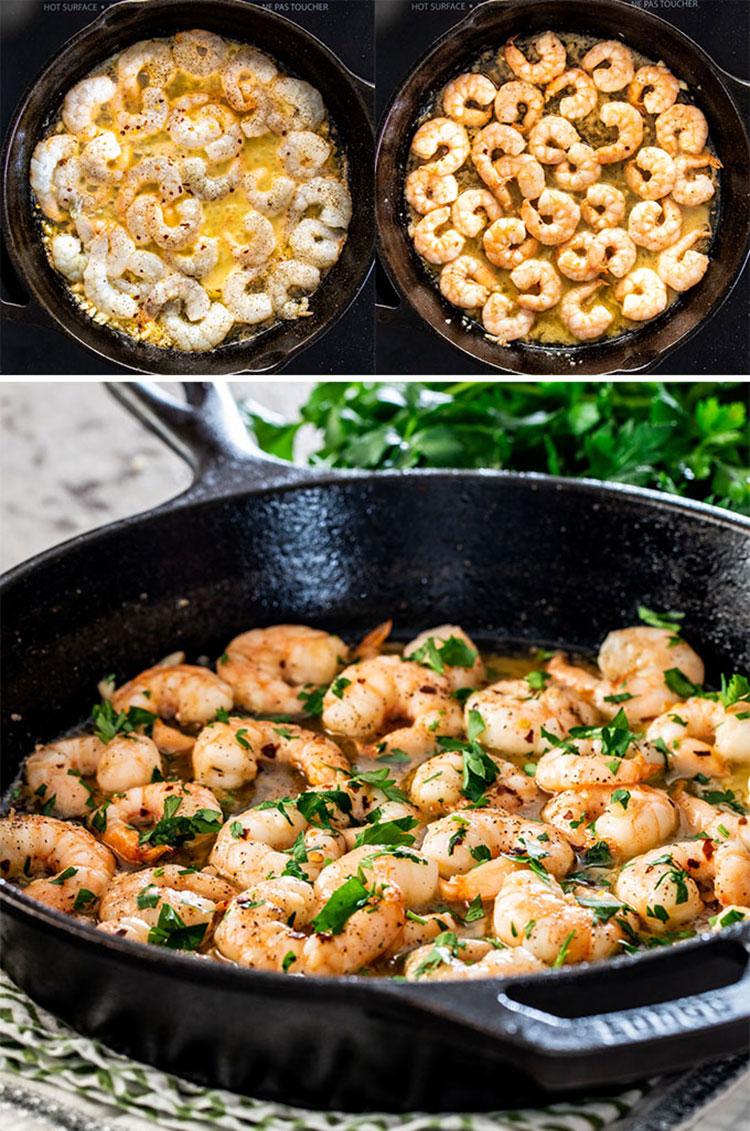 detailed process shots showing how to make garlic butter shrimp.