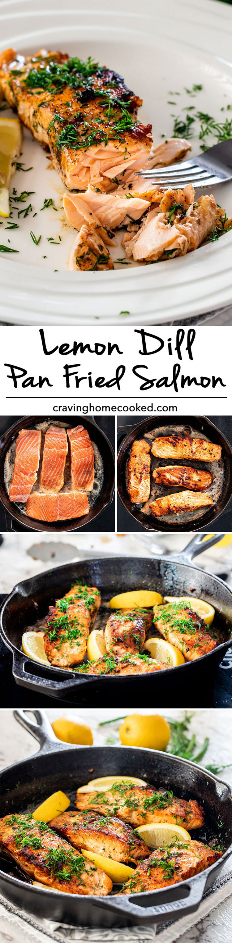 This Lemon Dill Pan Fried Salmon really is simplicity at its best. In 20 minutes you can have this incredibly delicious lemon dill salmon that requires only a handful of ingredients! #lemondillsalmon #salmon