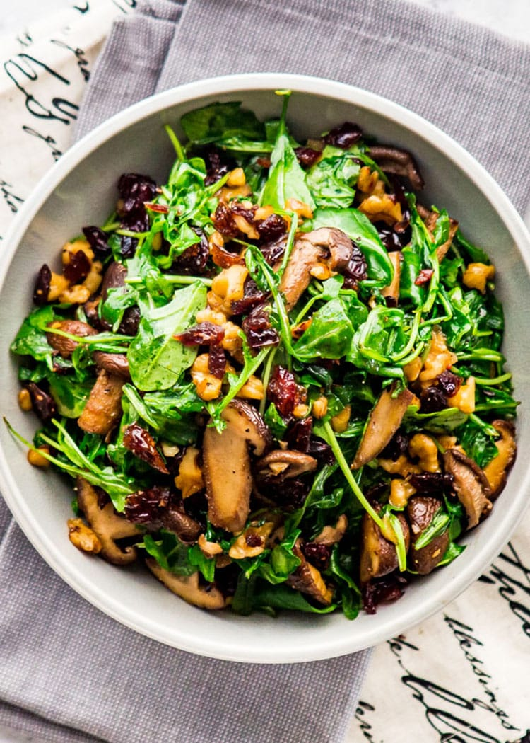 Mushroom Arugula Warm Salad in a bowl