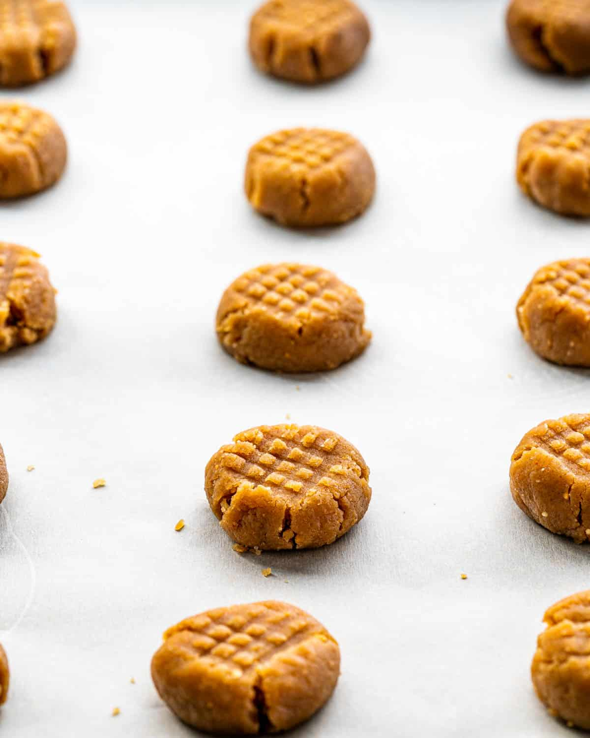 peanut butter cookies on a baking sheet ready to go in the oven.