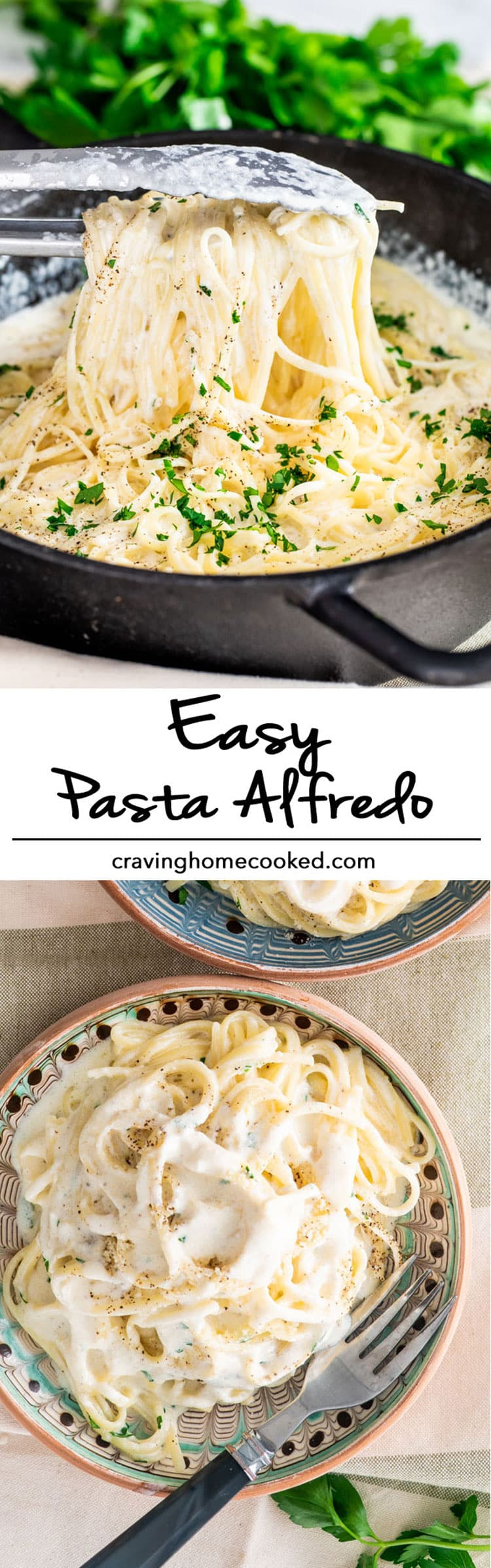 Easy Pasta Alfredo - Creamy, comforting, absolutely delicious, and super easy. This is the best and most simple recipe for Alfredo sauce that you will find! #alfredo