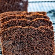 slices of chocolate zucchini bread on a cooling rack