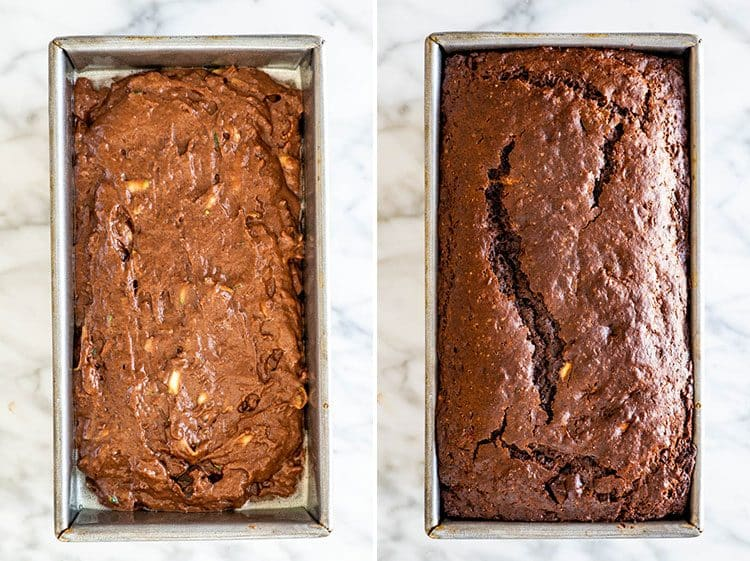 chocolate zucchini bread process shots for baking