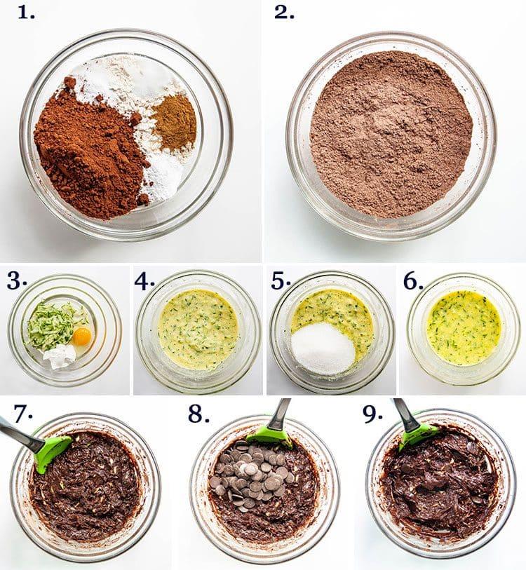 process shots for making chocolate zucchini bread