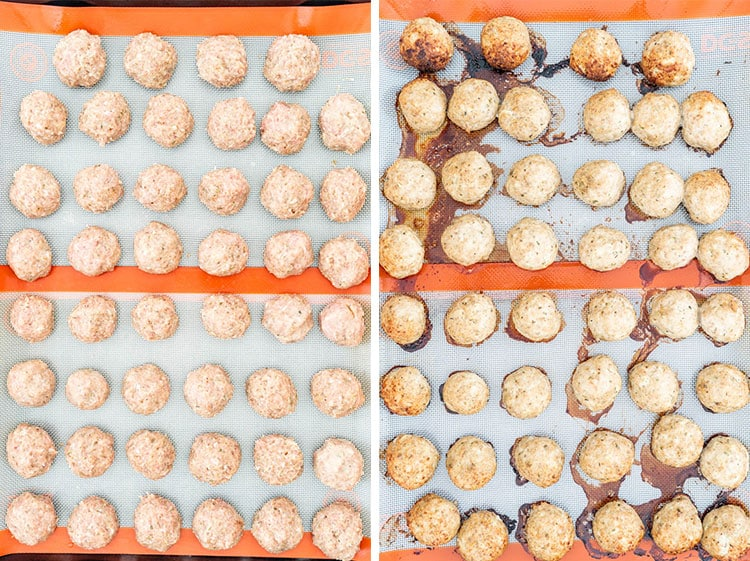 two shots of turkey meatballs on a baking sheet lined with a silpat before and after baking