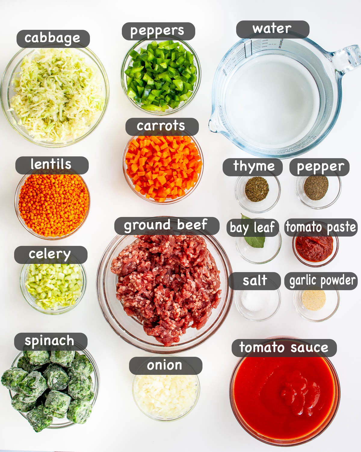 overhead shot of ingredients needed for making Beef Lentil Soup