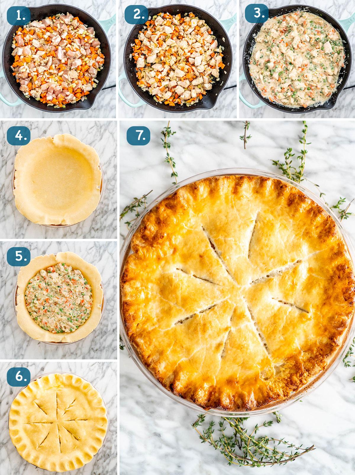 process shots for making chicken pot pie