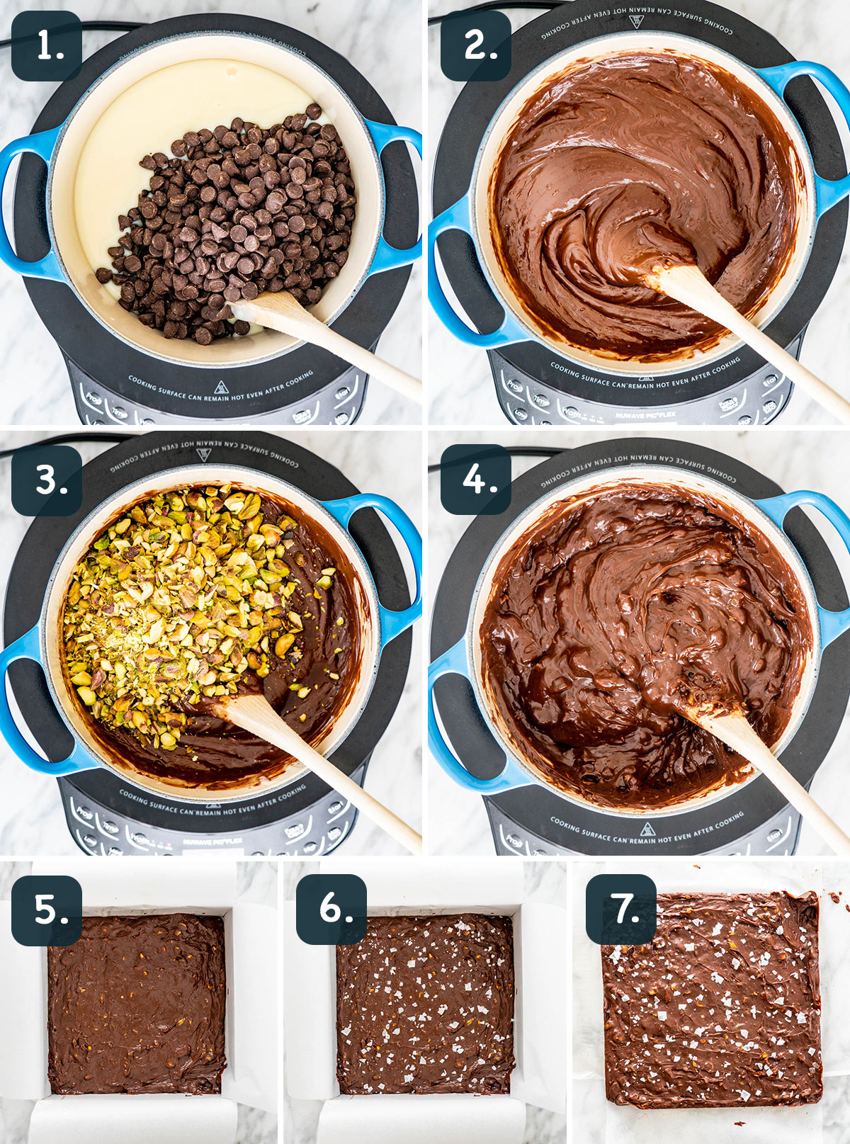 process shots showing how to make chocolate fudge