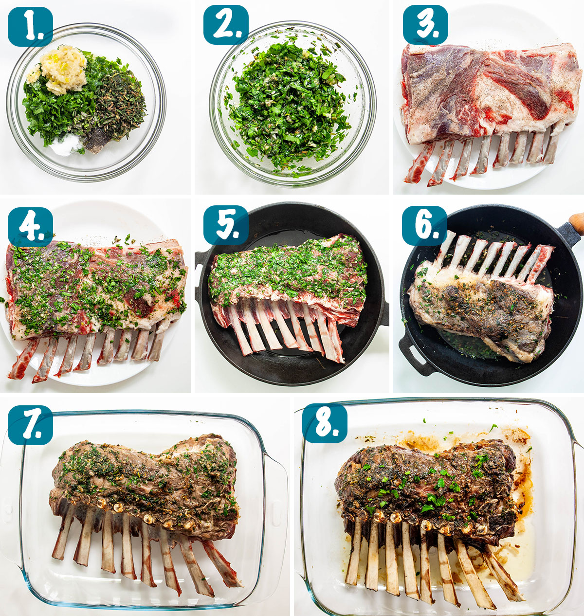 process shots showing how to make Herb Crusted Rack Of Lamb