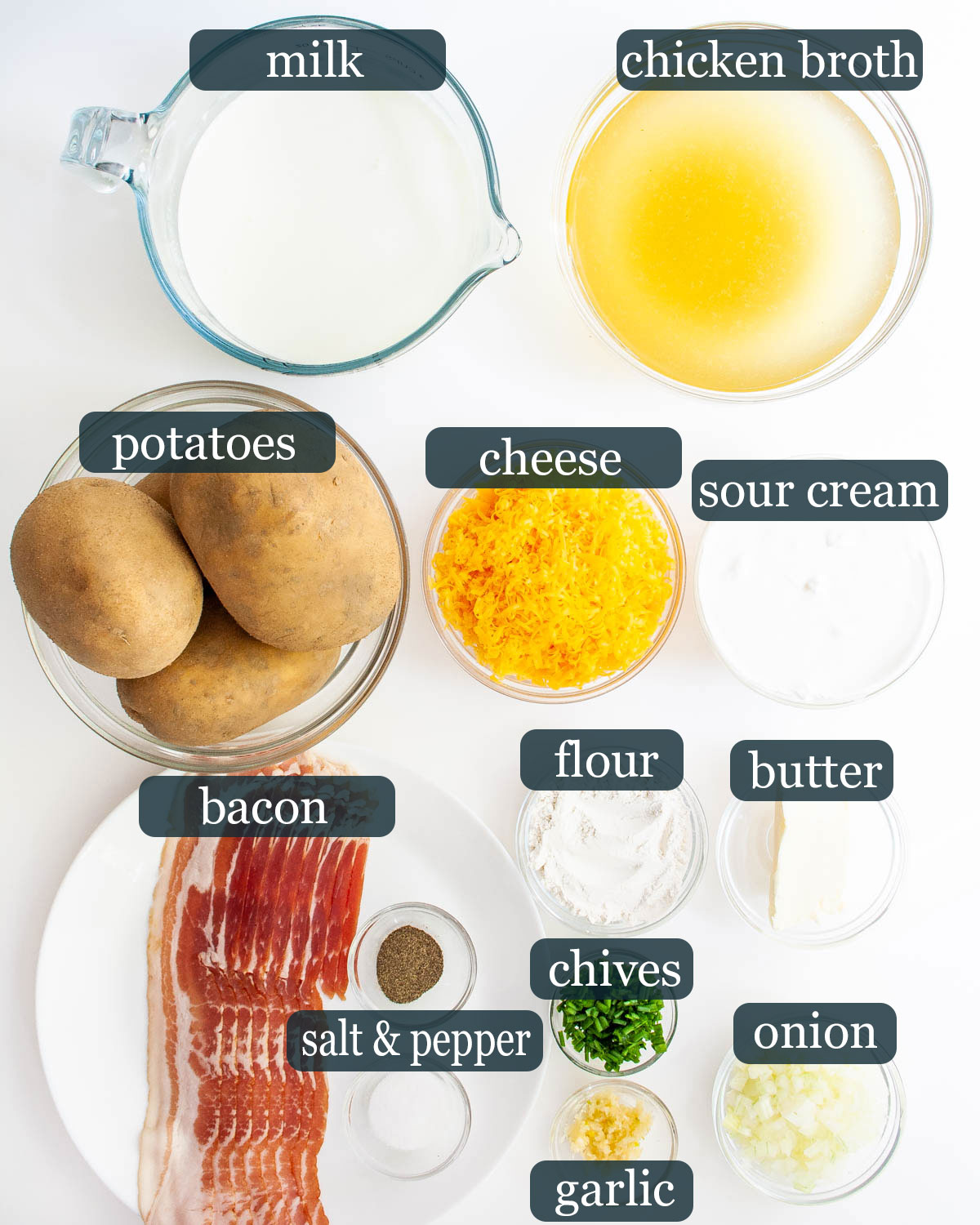 overhead shot of all the ingredients needed to make baked potato soup