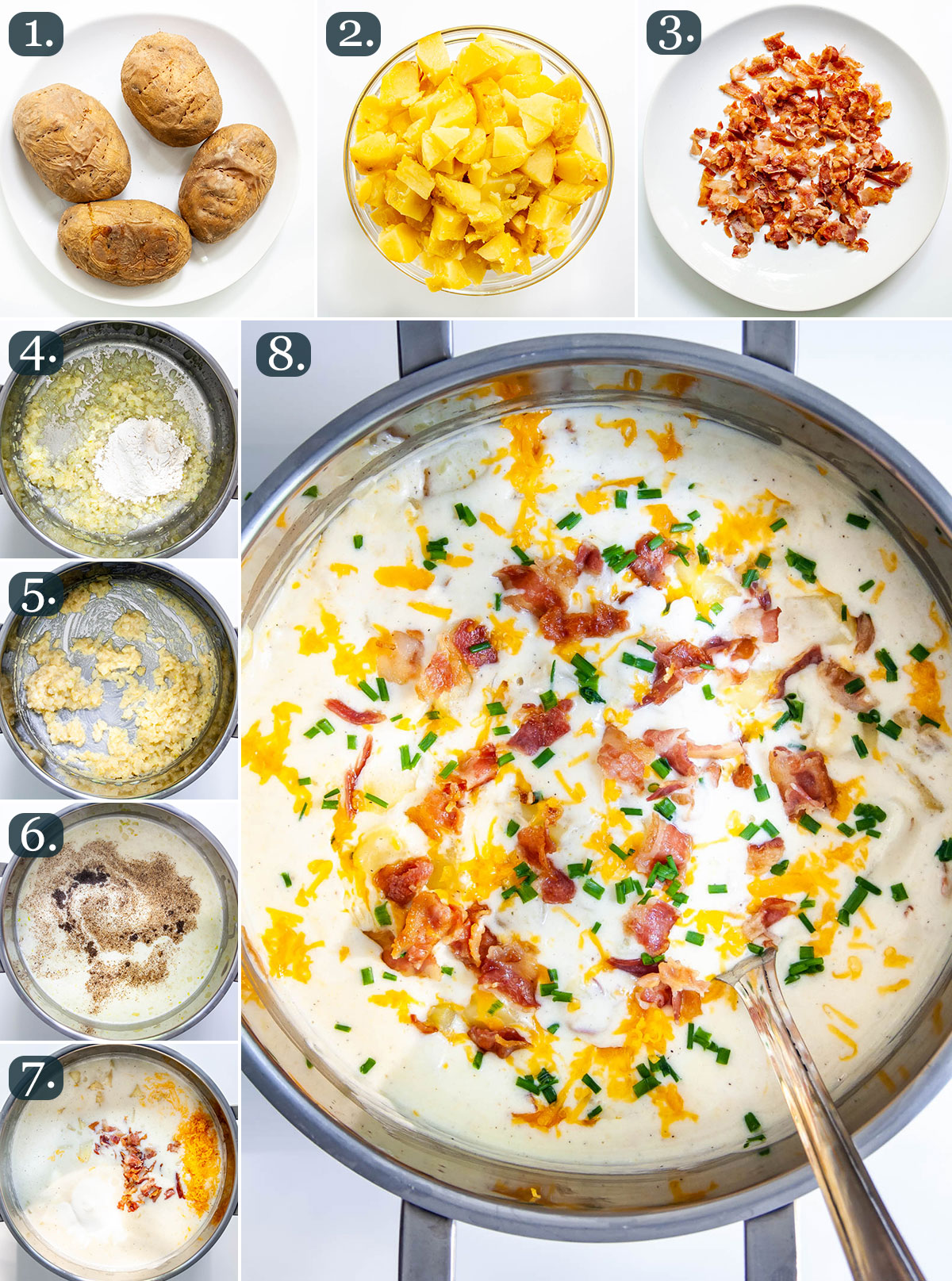 process shots showing how to make baked potato soup