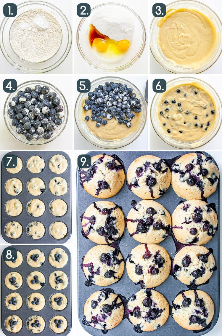 process shots showing how to make blueberry muffins