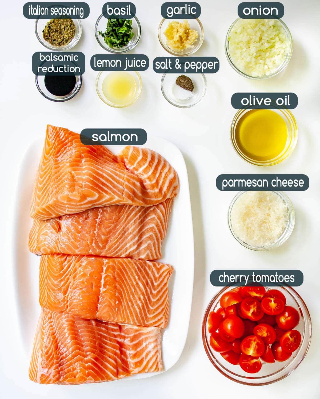 overhead shot of Bruschetta Salmon ingredients