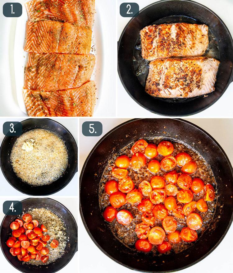 process shots showing how to make bruschetta salmon