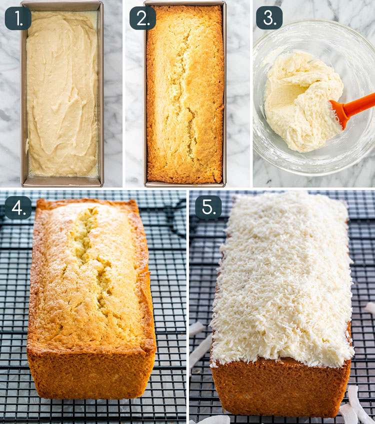 process of baking and icing coconut cake