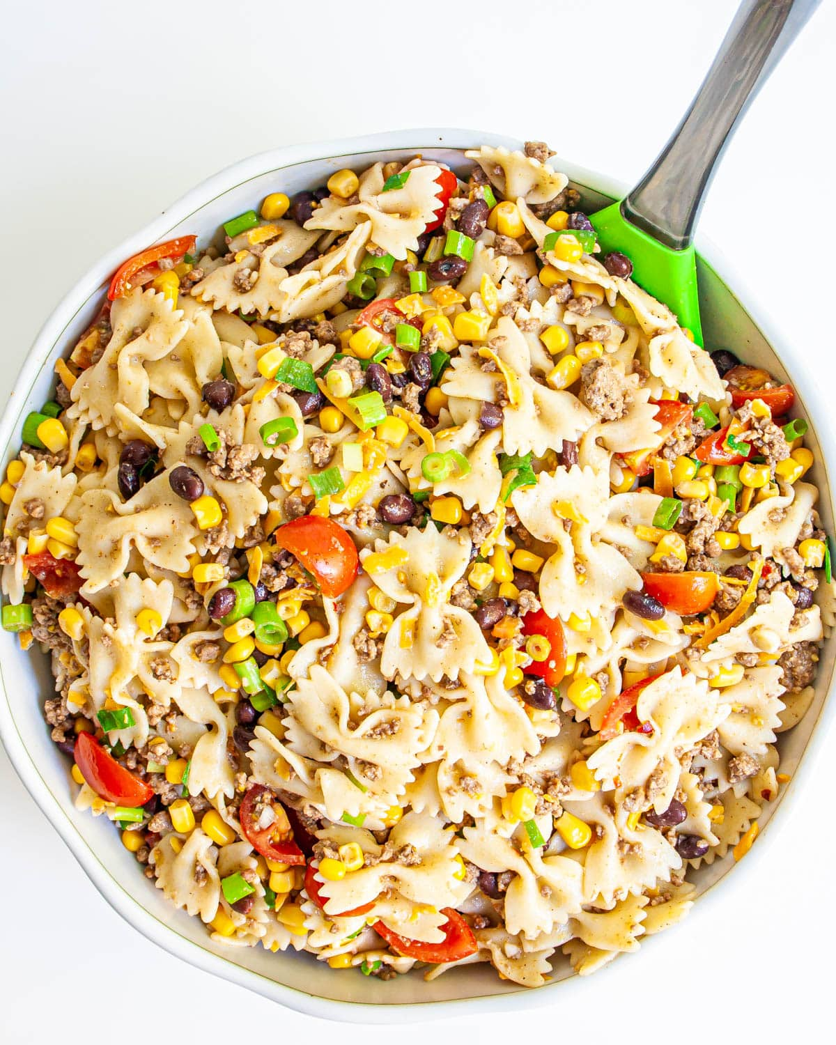 Cowboy Pasta Salad in a white bowl