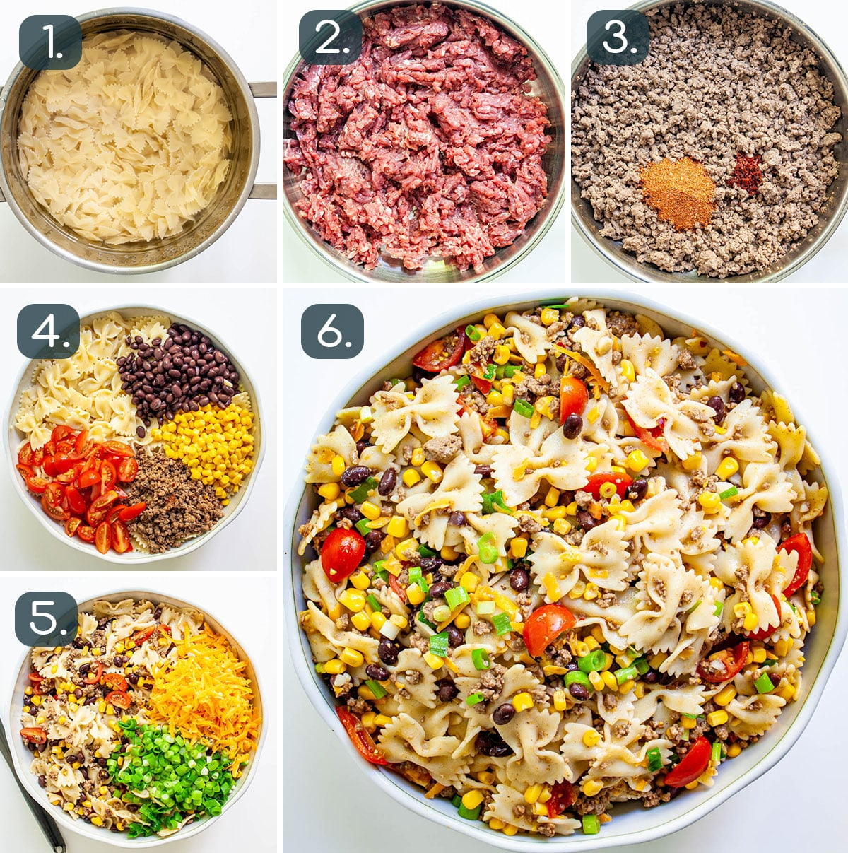process shots showing how to make Cowboy Pasta Salad