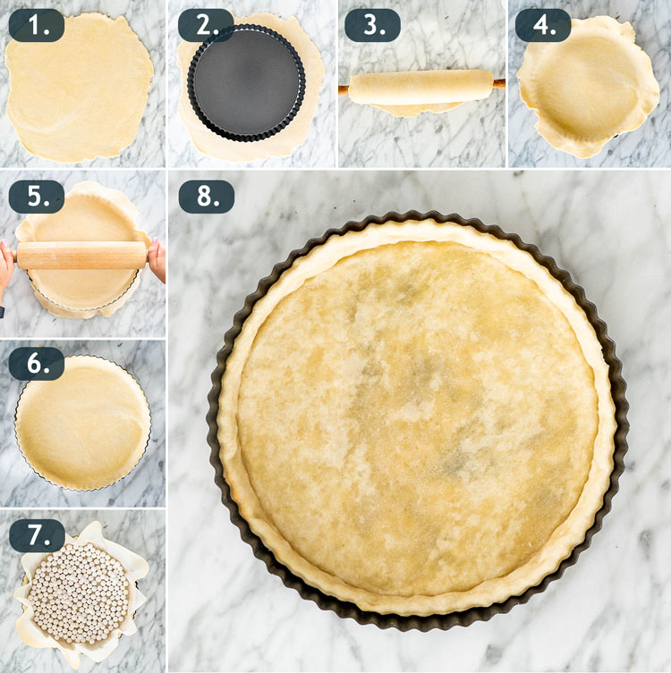 process shots showing how to prepare crust for quiche and how to blind bake it