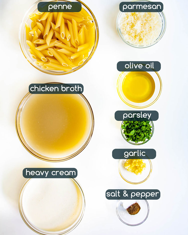 overhead shot of ingredients needed to make creamy parmesan pasta