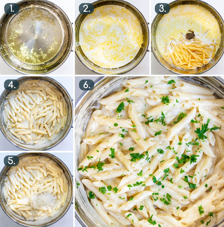 process shots showing how to make one pot creamy parmesan pasta
