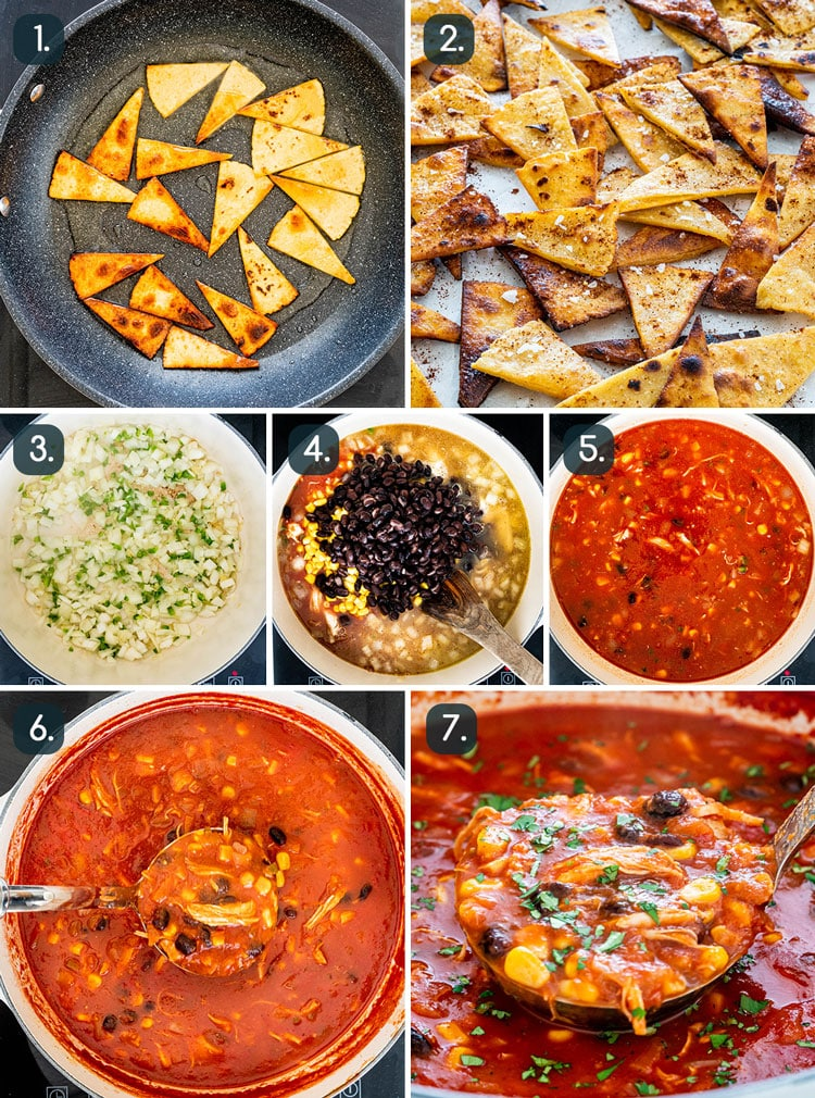 process shots showing how to make Chicken Tortilla Soup
