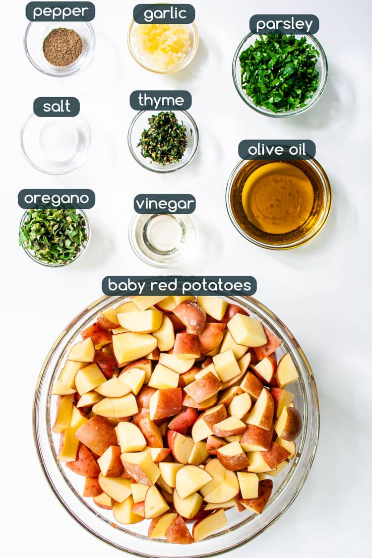 overhead shot of ingredients needed to make Garlic Herb Red Potato Salad