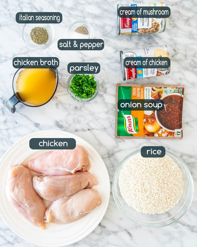 overhead shot of all the ingredients needed to make No Peek Chicken Rice Casserole