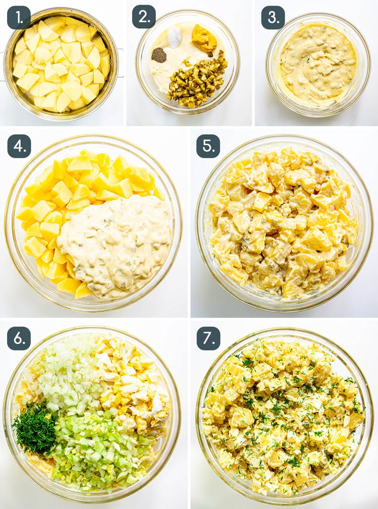 process shots showing how to make potato salad