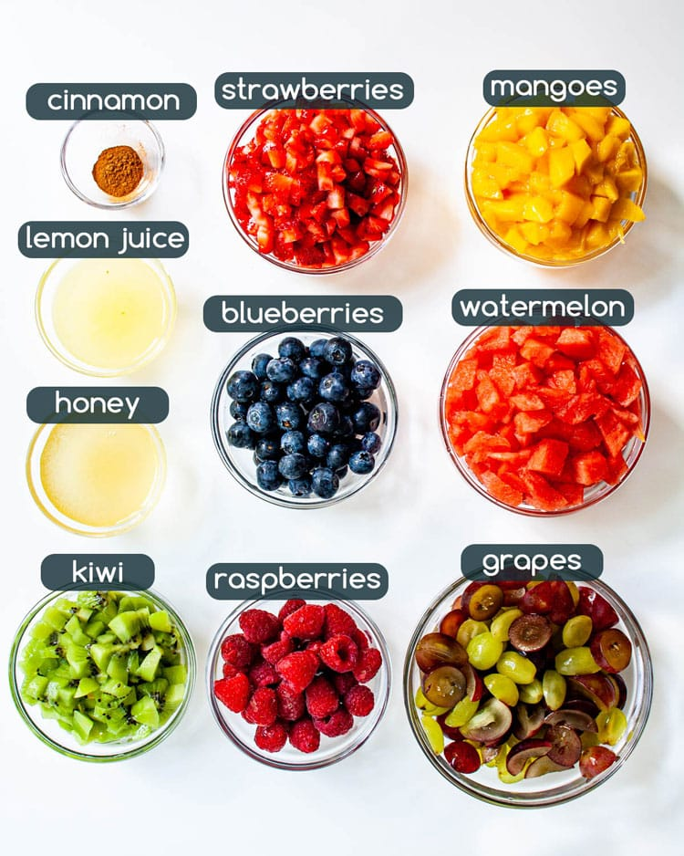 overhead shot of ingredients needed to make fruit salad