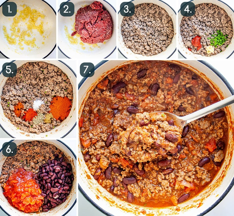 process shots showing how to make chili