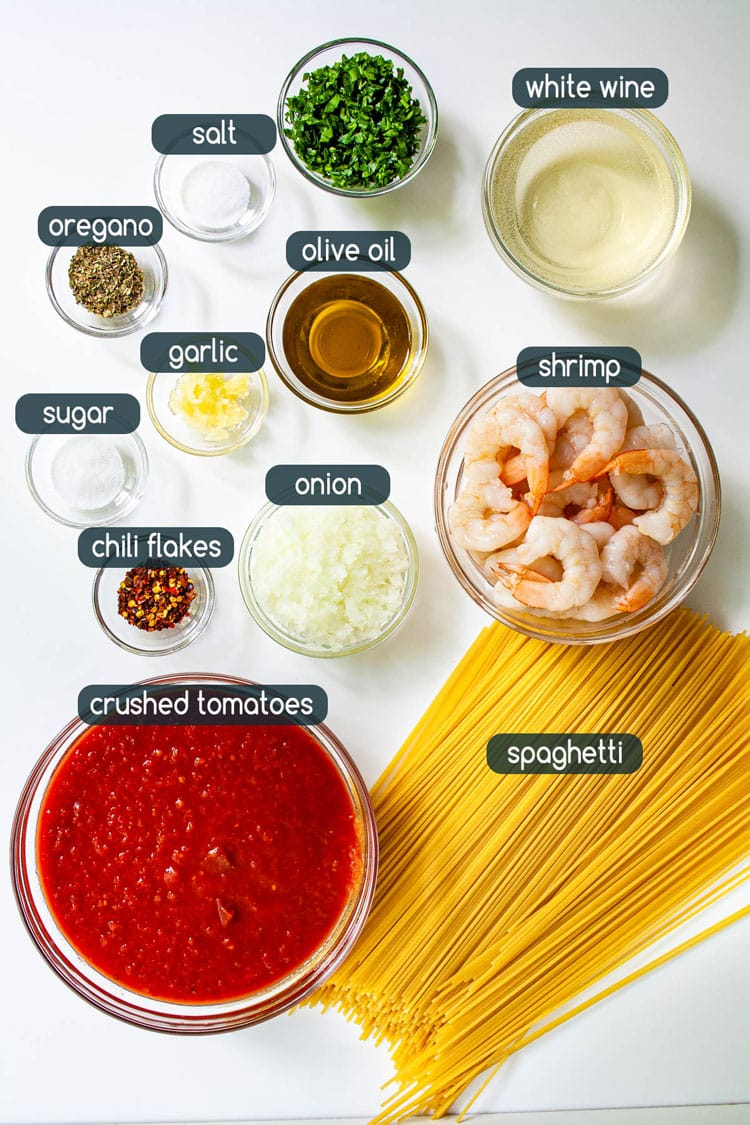 overhead shot of ingredients needed to make Tomato Shrimp Pasta