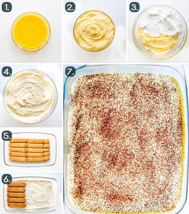 process shots showing how to make tiramisu