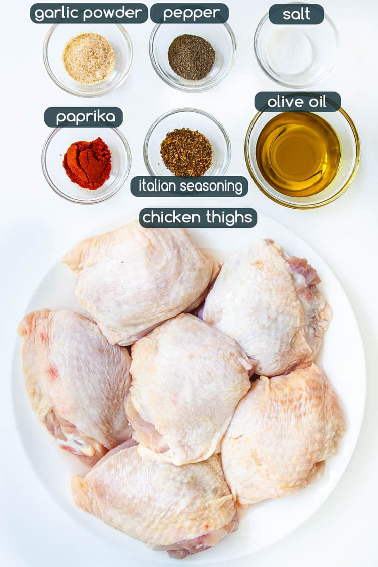 overhead shot of ingredients needed to make baked chicken thighs