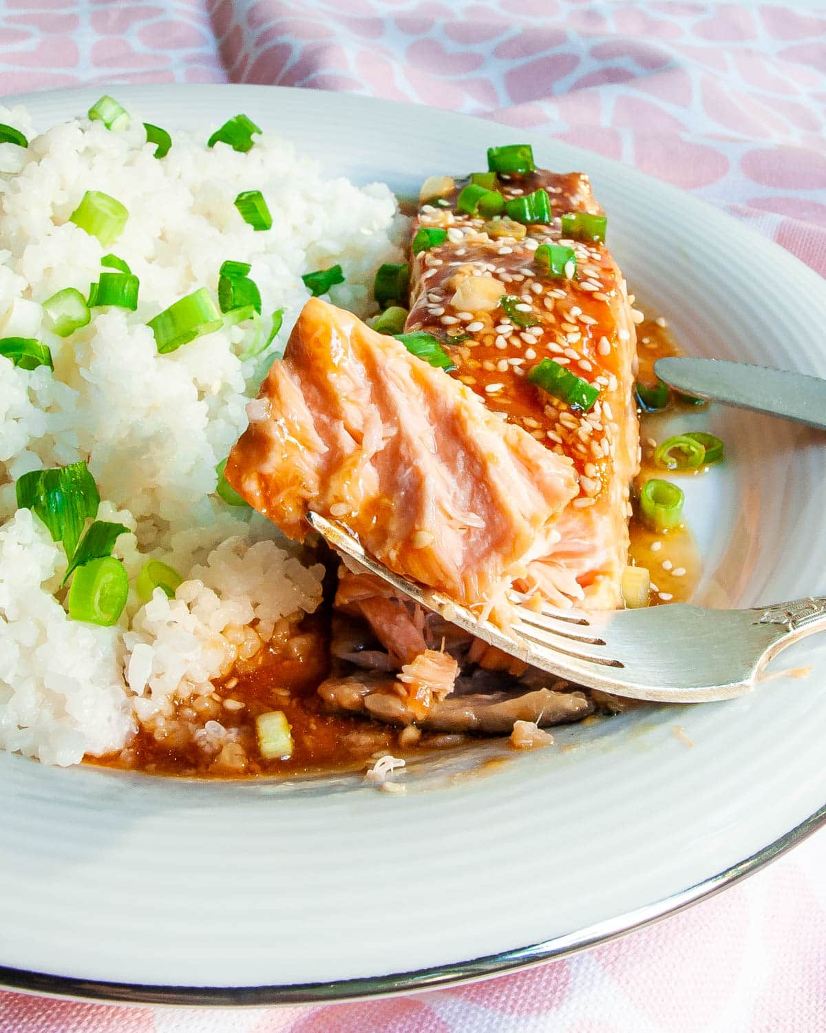 teriyaki salmon with coconut rice in a white plate