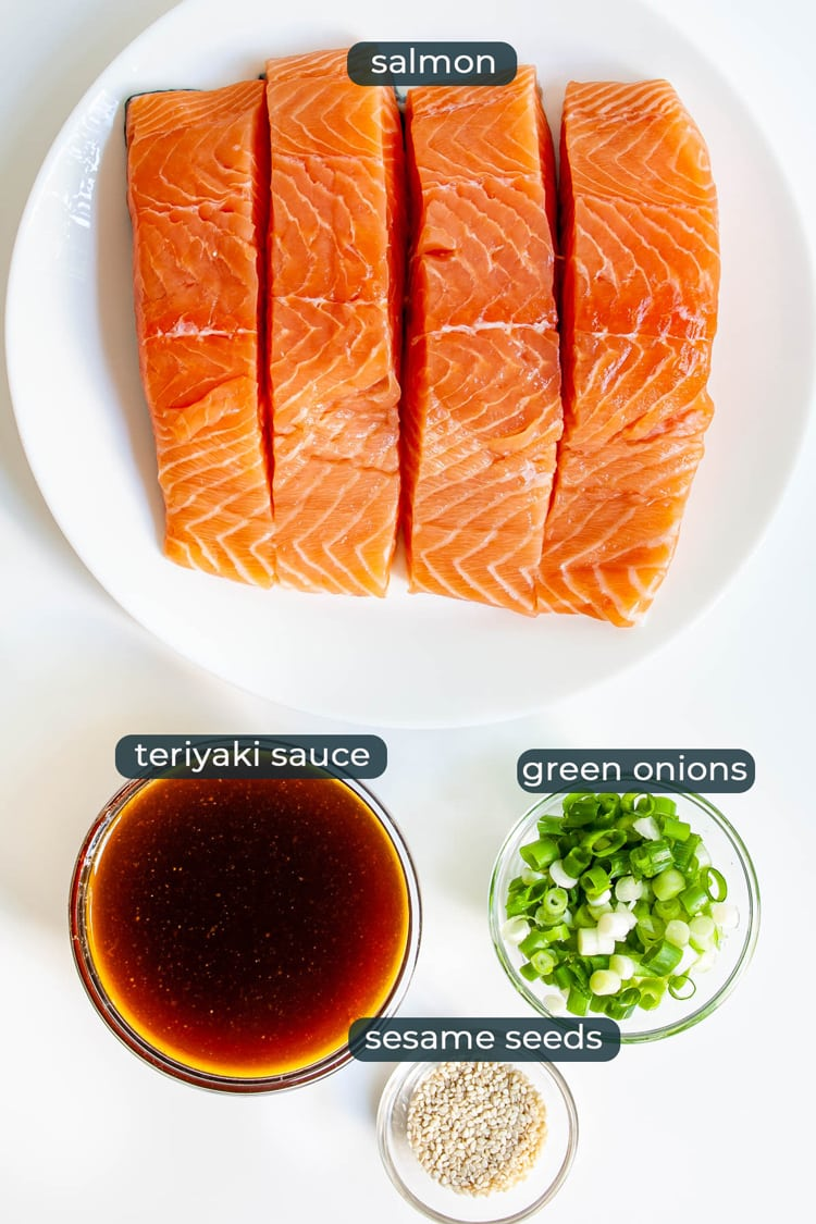 overhead shot of ingredients needed to make baked teriyaki salmon