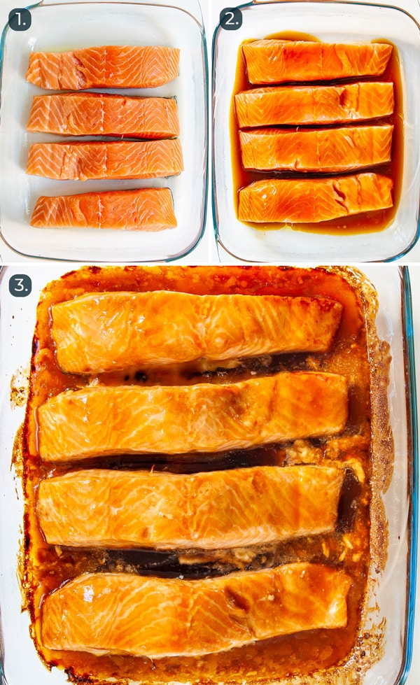 process shots showing how to bake teriyaki salmon