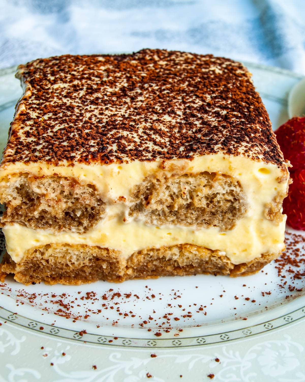 slice of tiramisu cake on a plate