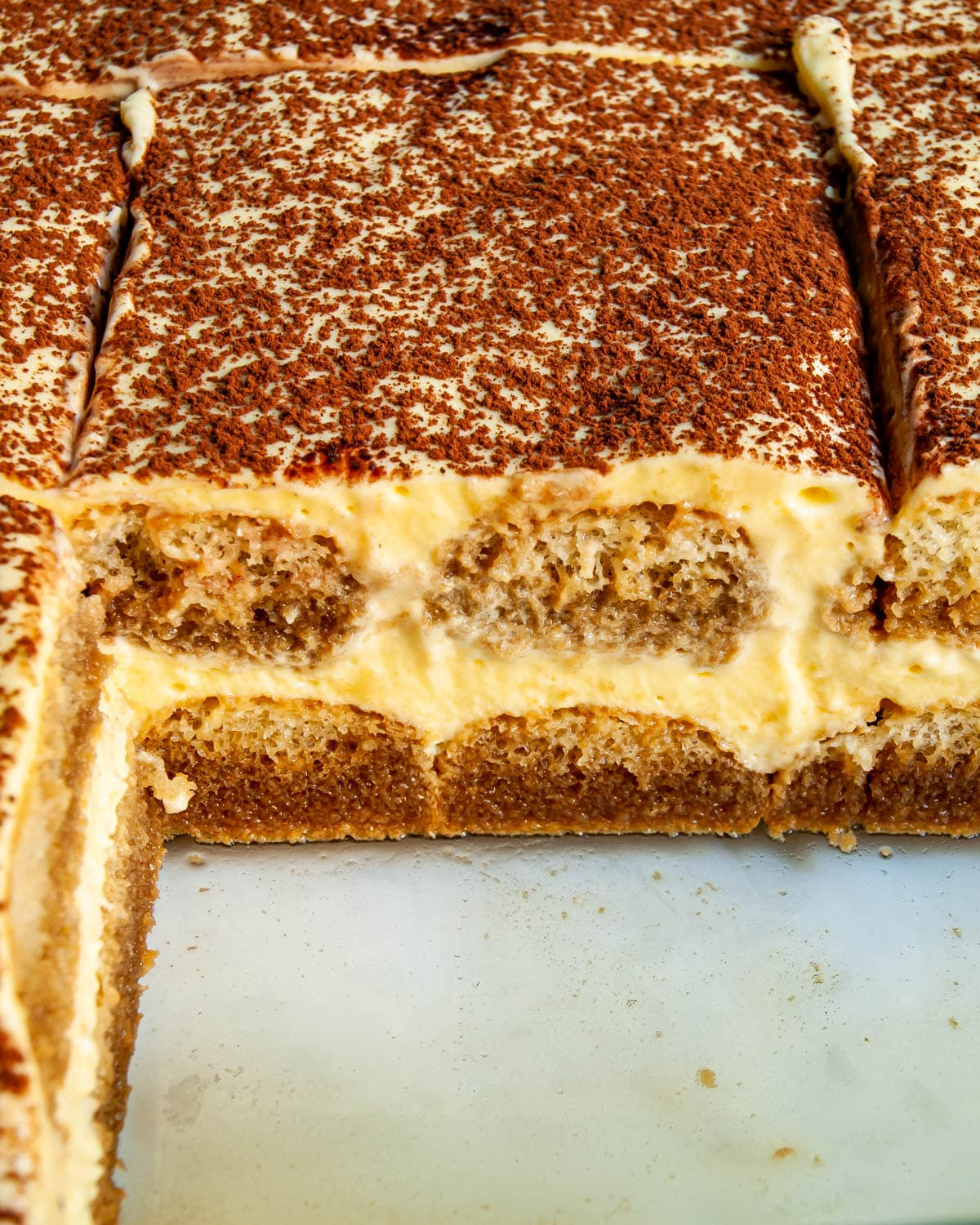 close up of tiramisu in a pan