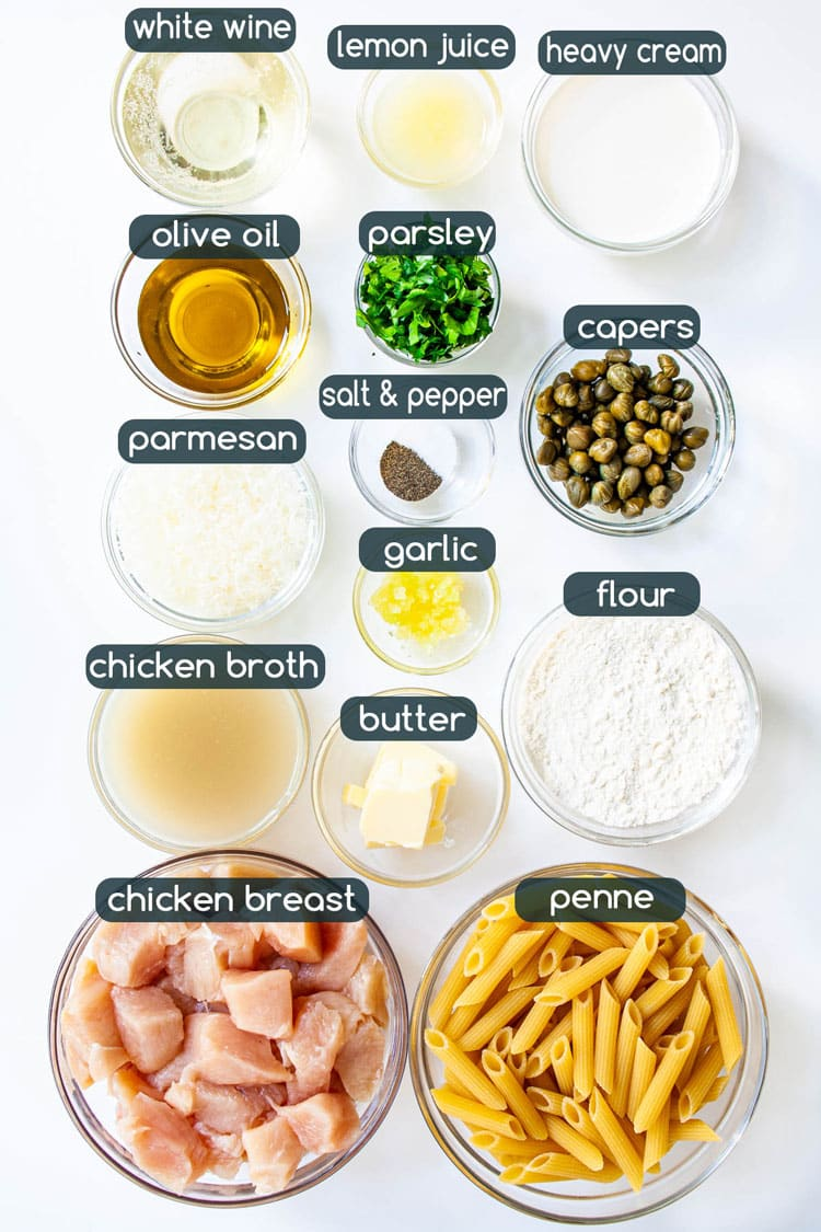 overhead shot of ingredients needed to make Chicken Piccata Pasta