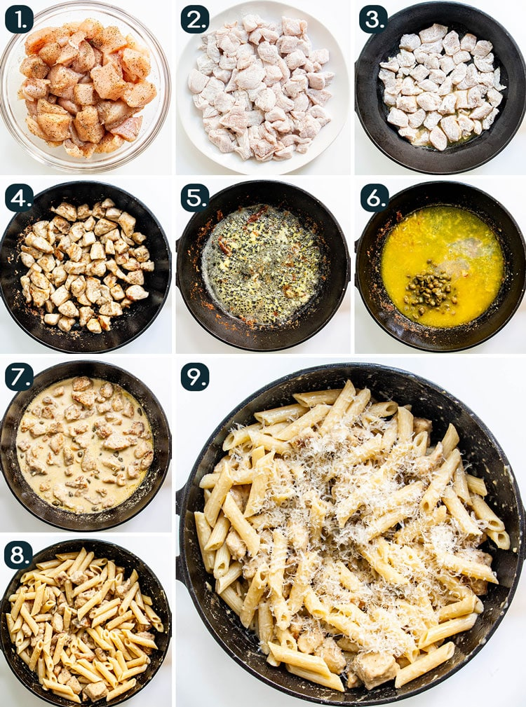 process shot collage showing how to make Chicken Piccata Pasta