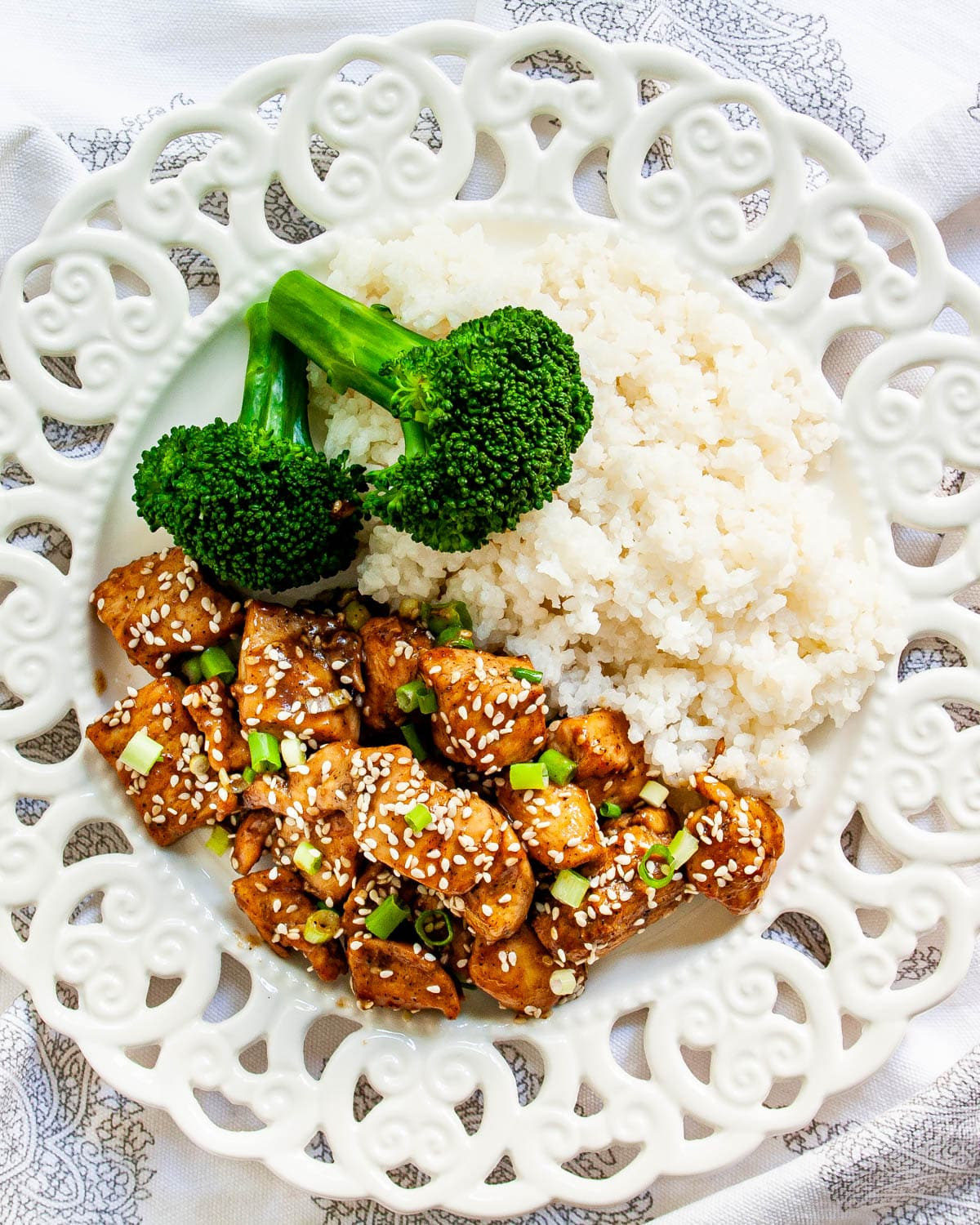 overhead shot of chicken teriyaki and rice on a white plate