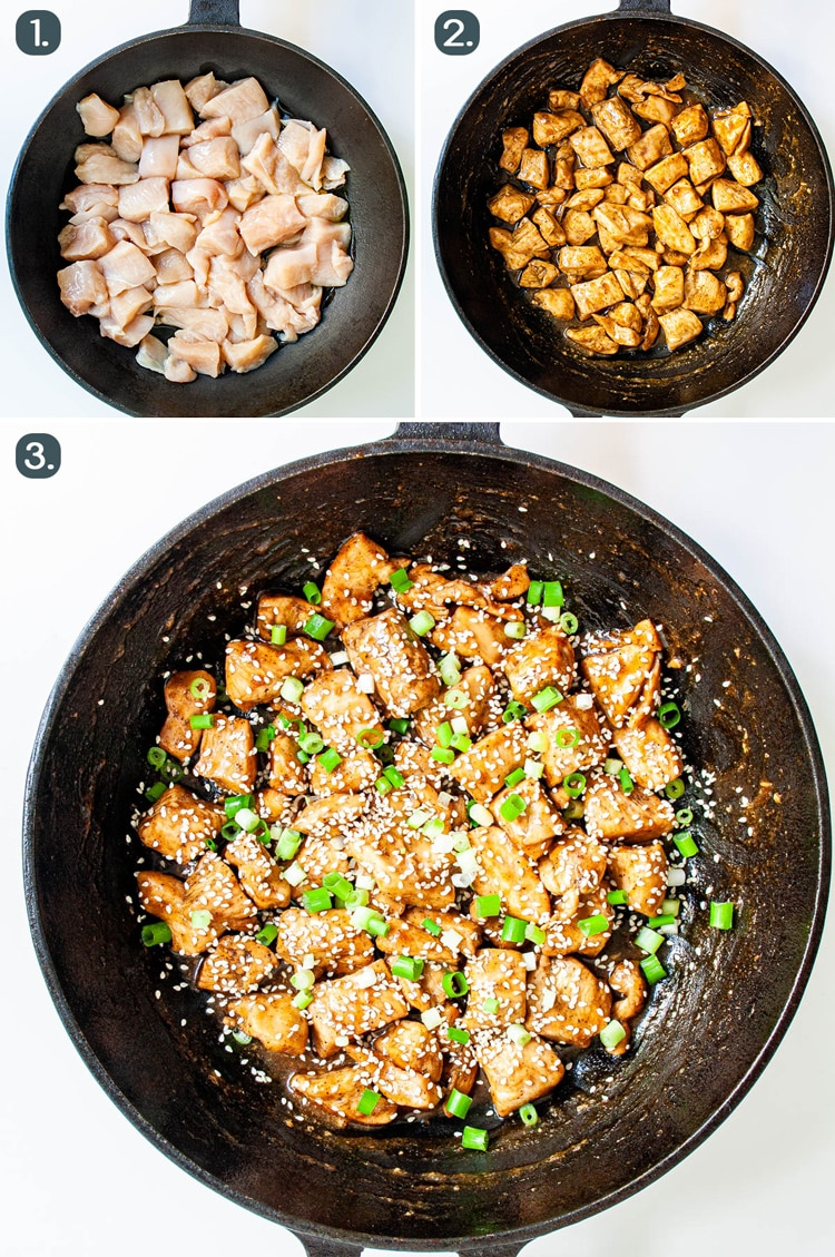 process shots for making chicken teriyaki