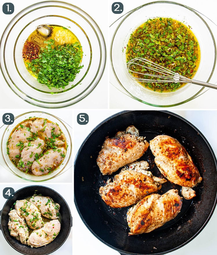 process shots showing how to make cilantro lime chicken