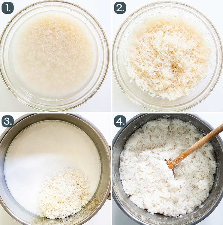 process shots showing how to make coconut rice